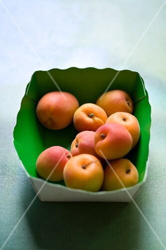 Fresh apricots in a cardboard box