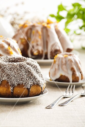 Easter cake with icing and grated coconut