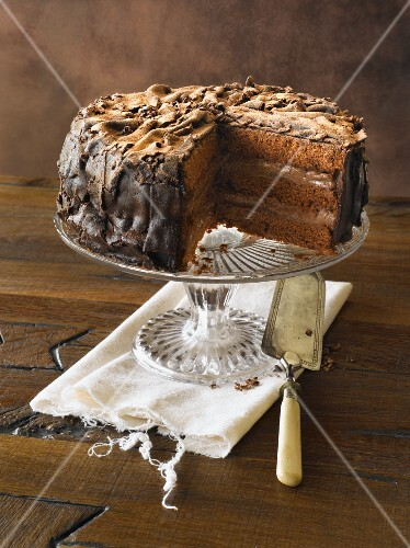 Removing Slice of Classic Chocolate Cake on Pedestal Dish