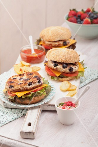 Chicken and blueberry burgers
