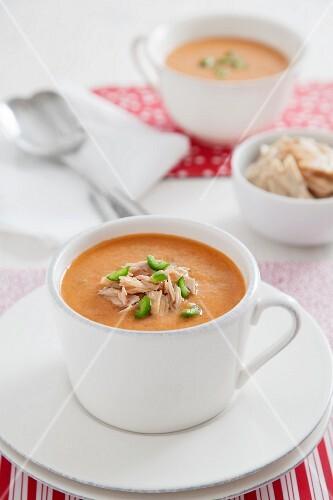 Porra antequerana (tomato and bread soup, Spain) with tuna