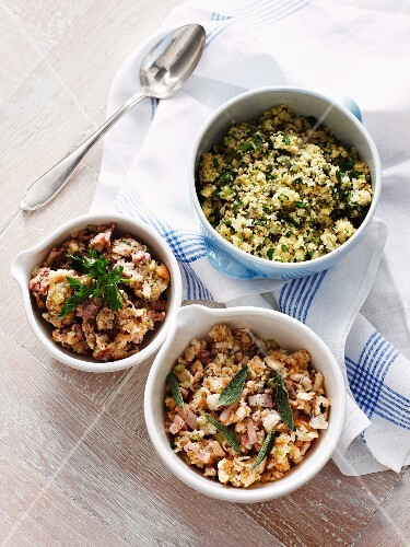 Assorted types of stuffing for turkey
