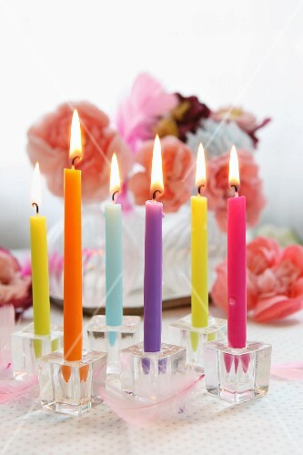 Birthday candles and flowers
