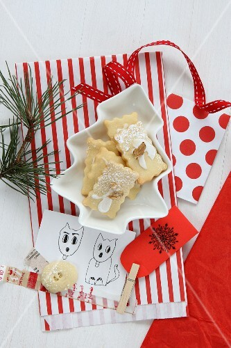 Christmas biscuits with a gift bag and printed gift labels