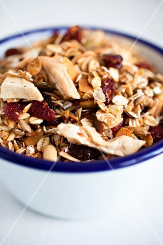 Museli made with rolled oats, dried cranberries, dried apple, desicated coconut and sunflower seeds.