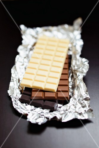 Three bars of chocolate (white chocolate, milk chocolate, dark chocolate)