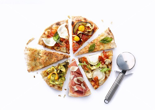 A party pizza with a pizza wheel
