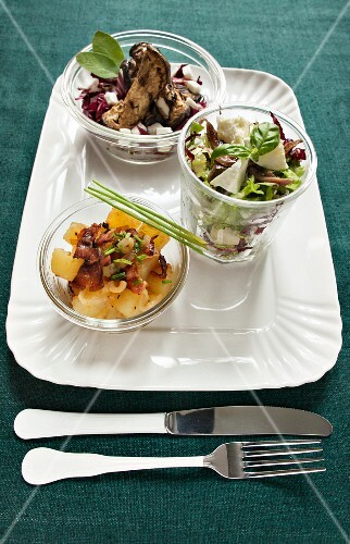 A salad of red endive with goat's cheese, a potato salad with smoked bacon and a mixed salad with buffalo mozzarella