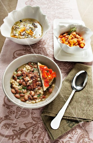 Borlotti bean and pearl barley soup, chickpea soup with pasta, and mushroom soup with spring onions