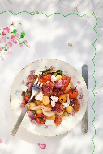 Sautéed vegetables with ham