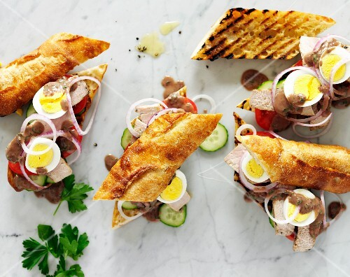 Egg and Roast Beef Sandwiches on Grilled Baguettes with Onions, Parsley BBQ Sauce and Cucumbers