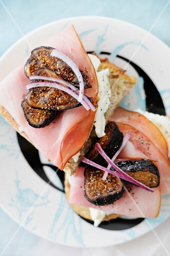Open Face Fig and Ham Sandwiches