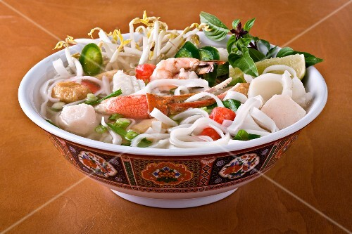 Seafood Pho with Shrimp, Fish and Lobster in a Bowl