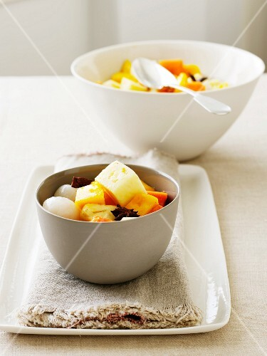 Exotic fruit salad with star anise