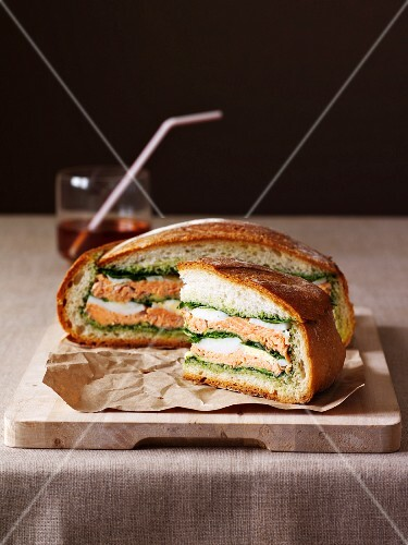 Muffaletta sandwich on a chopping board