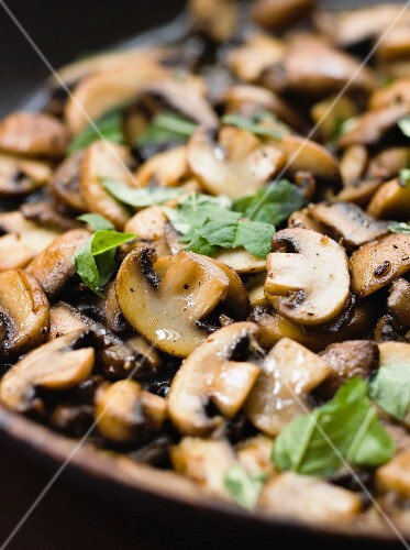 Fried button mushrooms with lemon verbena