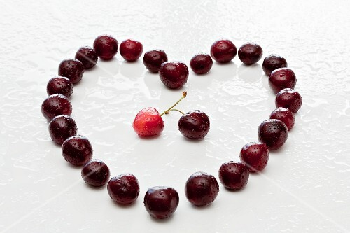 A heart made from cherries
