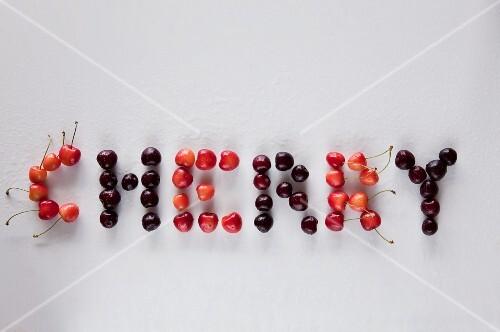 The word 'cherry' written in cherries