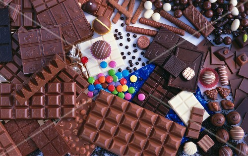 Assorted chocolate bars, filled chocolates and sweets