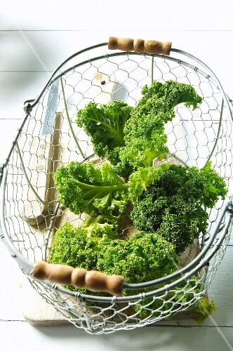 Kale in a wire basket