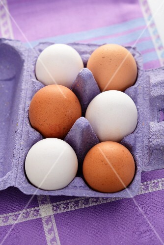 Eggs in a purple egg box