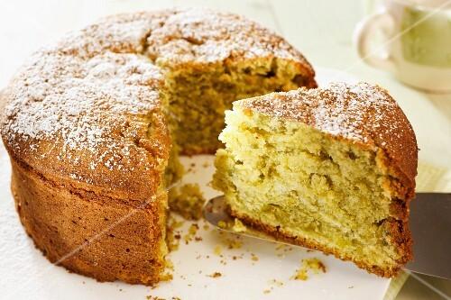 Pistachio Cream Cake, selective focus