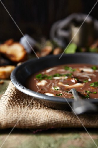 Venison soup with mushrooms