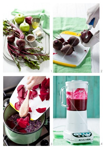 Cold beetroot soup with apple being prepared