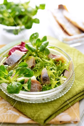 Green salad with herrings