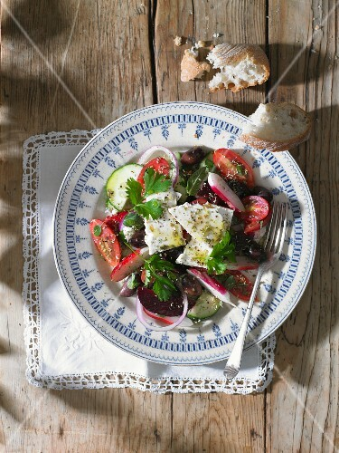 Beetroot salad with radishes and feta