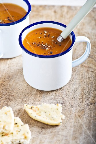 Carrot soup with coriander and naan bread