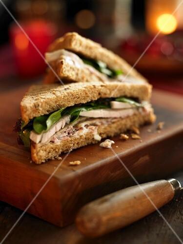 A turkey and spinach sandwich