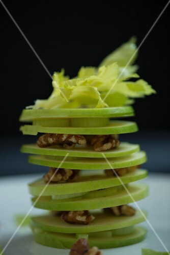 A Waldorf salad with apple, celery and nuts