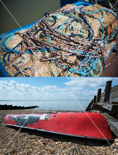 A dual image: fishing nets and rope; an upturned boat on the beach