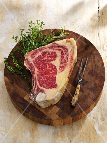Entrecote steak of Wagyu beef on a wooden board