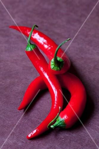 Three fresh red chillies