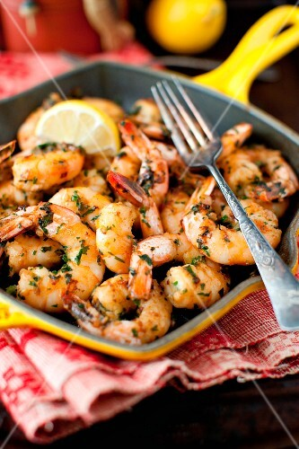 Garlic, Lemon and Parsley Shrimp in an Iron Skillet with a Fork