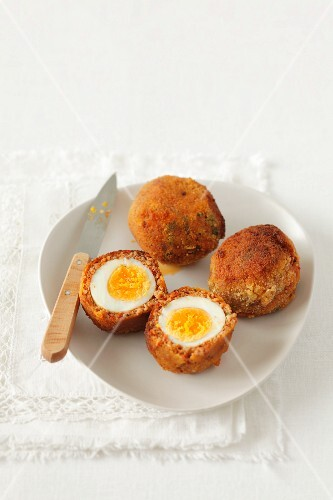 Meatballs with quail's eggs in the middle