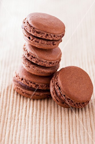A stack of chocolate macaroons