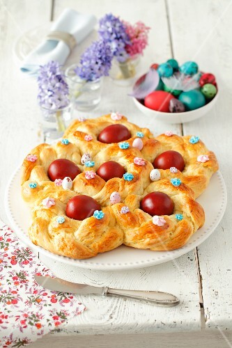 An Easter nest made from yeast-raised dough