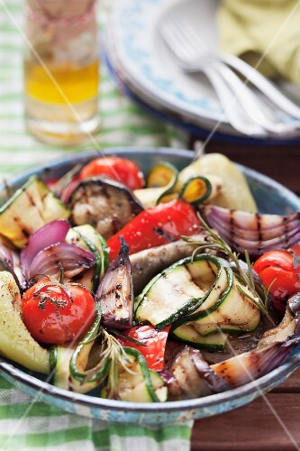 Grilled vegetables in a bowl