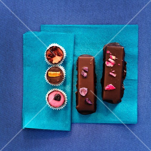 Assorted hand-made filled chocolates (view from above)