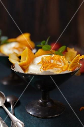 Orange cream with orange zest