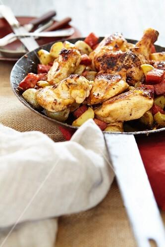 Chicken with chorizo and potatoes (Spain)