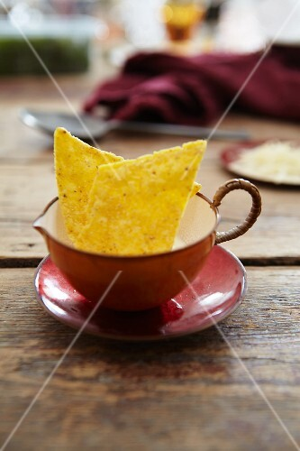 Tortilla chips in a soup cup