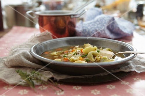 Tortellini soup with vegetables