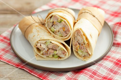 Wraps filled with chicken and celery salad