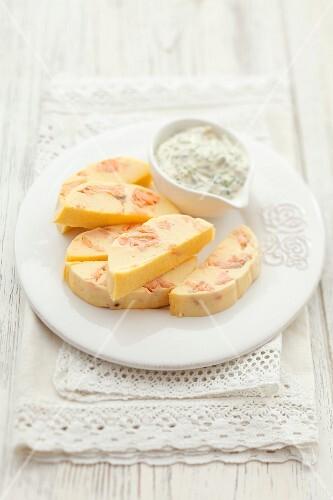 Salmon terrine with cress sauce