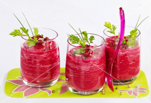 Beetroot gazpacho in three glasses