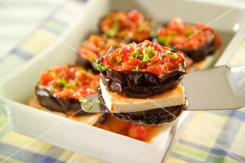 Aubergines with feta and tomatoes